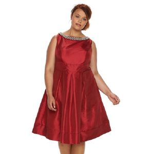 Sateen Plus Size Party Dress in Dark Red