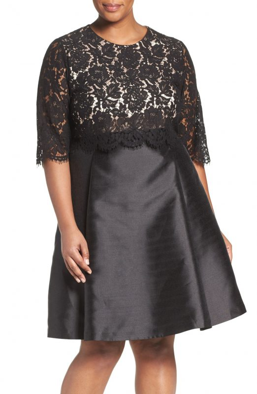 Plus-Size-Lace-Bodice-Mikado-Fit-Flare-Party-Dress