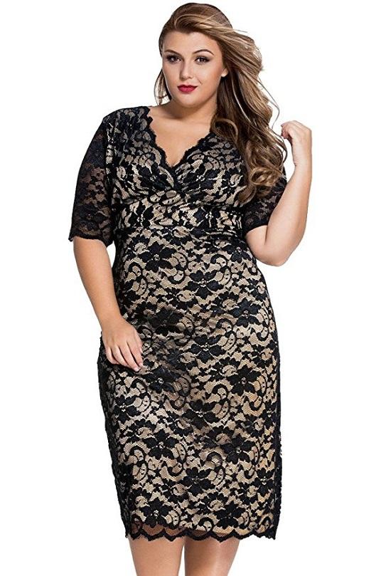 Plus Size Lace Party Dress
