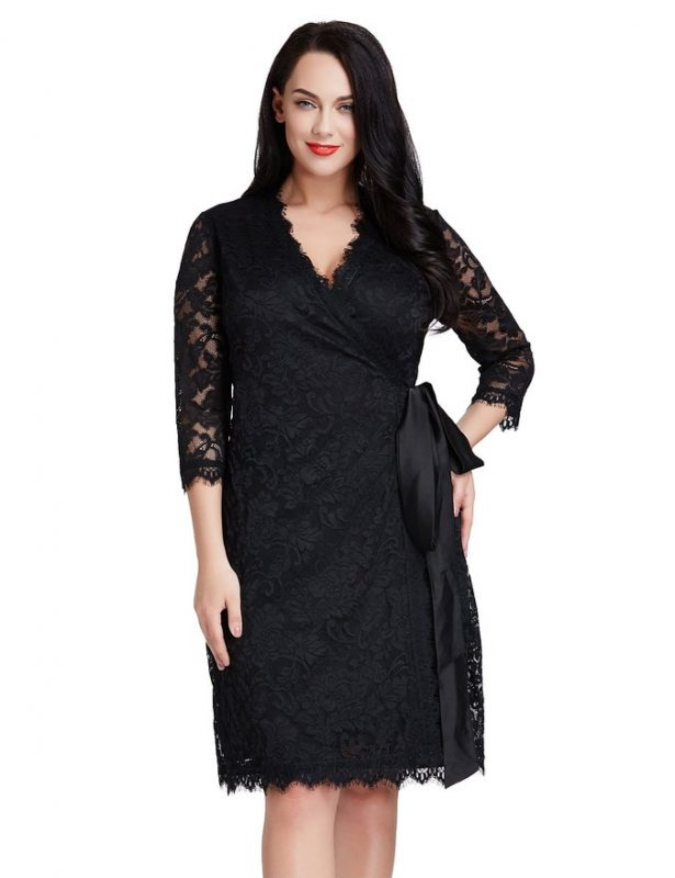 Plus Size Lace Wrap Dress