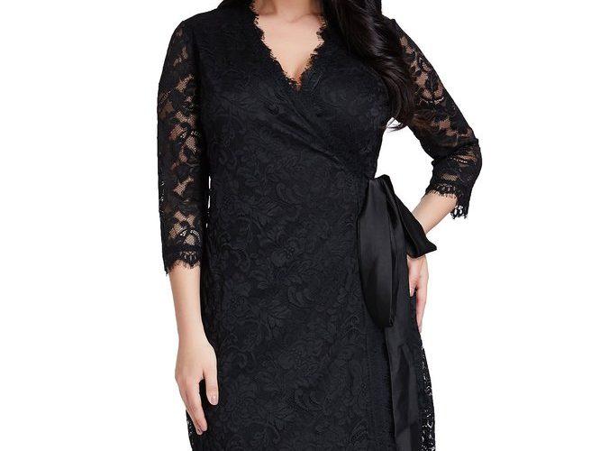 Plus Size Lace Wrap Dress